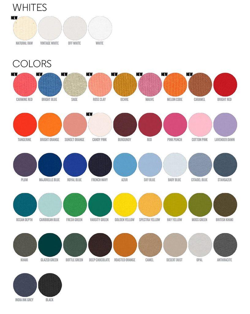 Guide complet des couleurs de T shirts