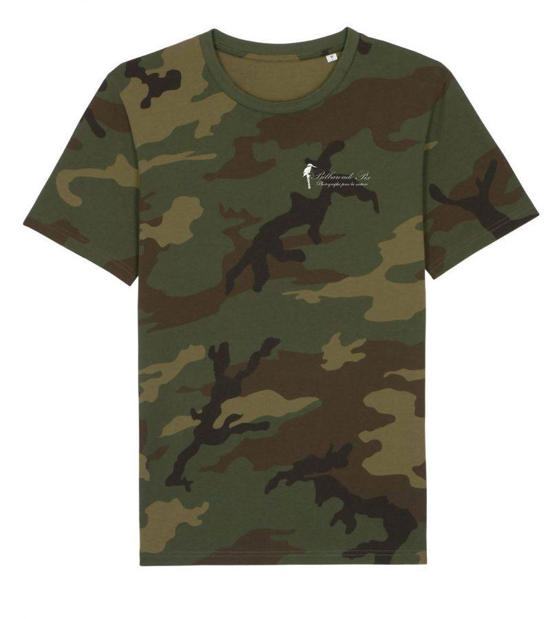 Tee-Shirt camouflage, Impression unique côté cœur du logo Bilbaroude Pix uniquement, impression photo au dos possible